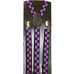 96 Bulk Purple Checkered Suspenders
