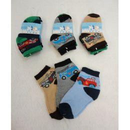 48 Bulk 3 Pair Boy's Anklet Socks 2-4 [cars]