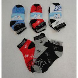 48 Bulk 3pr Boy's Anklet Socks 4-6 [spider]