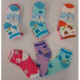 60 Bulk Girl's Anklet Socks 4-6 [deer & Bunny]