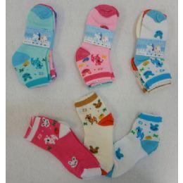 60 Bulk 3pr Girl's Anklet Socks 6-8 [deer & Bunny]