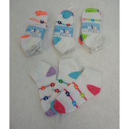 60 Bulk 3pr Girl's Anklet Socks 6-8 [stripes & Daisies]