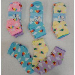 60 Bulk Girl's Anklet Socks 6-8 [umbrella & Clouds]