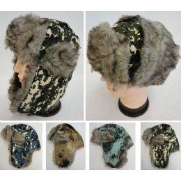 24 Bulk Bomber Hat With Fur Lining [digital Camo]