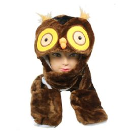 24 Bulk Cute Plush Owl Character Builtin Paws Mittens Animal Hat