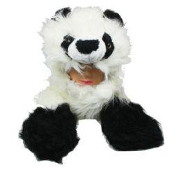 12 Bulk Faux Fur Panda Animal Character Builtin Paws Mittens Hat
