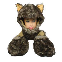 12 Bulk Soft Plush Husky Animal Character Builtin Paws Mittens Hat