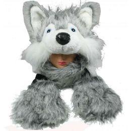 12 Bulk Soft Faux Fur Husky Animal Character Builtin Paws Mittens Hat