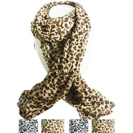 36 Bulk Cheetah Style Fashion Scarf In Assorted Colors
