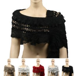 36 Bulk Womens Fashion Lace Scarf In Assorted Colors