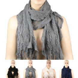 36 Bulk Womens Fashion Scarf Assorted Colors