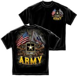 12 Bulk T-Shirt 001 Double Flag Us Army Black Small Size