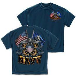 10 Bulk T-Shirt 005 Double Flag Eagle Shield Navy Blue Small Size