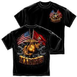 6 Bulk T-Shirt 014 Double Flag Gold Globe Marine Corps Medium Size