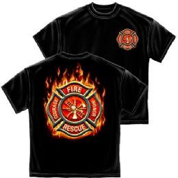 10 Bulk T-Shirt 023 Firefighter Classic Fire Maltese Large Size