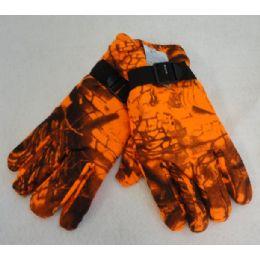 36 Bulk Men's Fleece Gloves [orange Hardwood Camo]