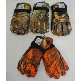 24 Bulk Men's Hardwood Camo Snow Gloves