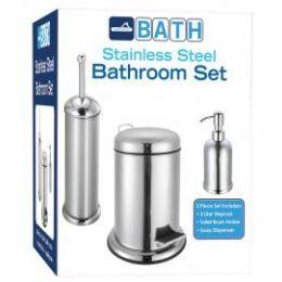 4 Bulk 3 Piece Stainless Steel Bathroom Set Stainless Steel