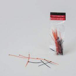 48 Bulk Cable Ties 100ct 3asst Size Red/white/black Mixed Pb On 12pc Mdsg Strip