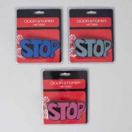 "36 Bulk Door Stopper ""stop"" Shaped 3ast Colors 4.8x2.2in Blstr Card"