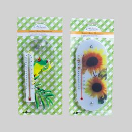36 Bulk Thermometer Window 2ast Print W/ Suction Cups 3.5x7.87 L&g Blc Frog/flower