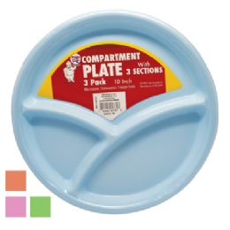 36 Bulk Plastic 10 Inch Compartment Plate