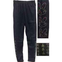 12 Bulk Dark Jean Colored Kids Leggings With Decors