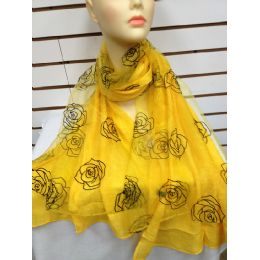 24 Bulk Rose Print Scarf (yellow)
