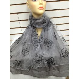 24 Bulk Rose Print Scarf (grey)