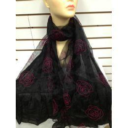 24 Bulk Rose Print Scarf (black)