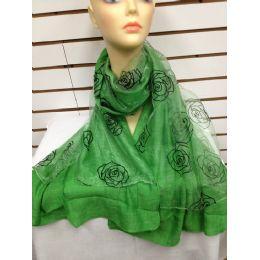 24 Bulk Rose Print Scarf (green)