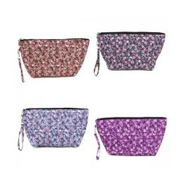 60 Bulk Quilted Cosmetic Make Up Bag In A Floral Print