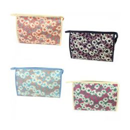 60 Bulk Large Cosmetic Make Up Bag In A Daisy Print