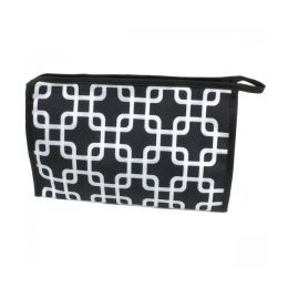 60 Bulk Large Cosmetic Make Up Bag In Overlapping Squares Design