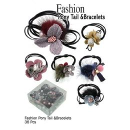 36 Bulk Fashion Pony Tails & Bracelts