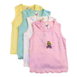36 Bulk Strawberry Girls Infant Tank Top W/embroidered Design 0-9 Months