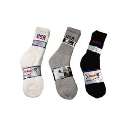 144 Bulk Boys Sport Sock Crew With Logo In Black Size 9-11