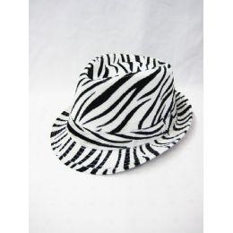 b961cd68b88d0 Wholesale Zebra Printed Fedora Hat - at - bluestarempire.com