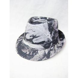 9e3908239f73a Wholesale Printed Black and White Fedora Hat - at - bluestarempire.com