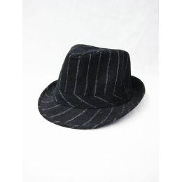 9bf2858f800b0 Wholesale Striped Black Fedora Hat - at - bluestarempire.com