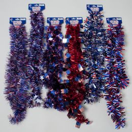 96 Bulk Garland Tinsel Patriotic