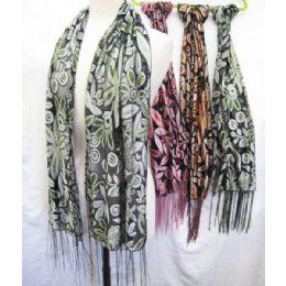36 Bulk Floral Printed Scarves