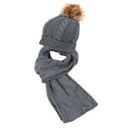 12 Bulk Knit Beanie Hats With Pom Pom And Knit Scarf