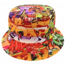 136ae72e685d Wholesale GRAFFITI PRINT BUCKET HATS IN ORANGE - at - bluestarempire.com
