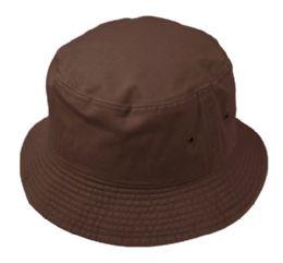 12 Bulk Plain Cotton Bucket Hats In Brown