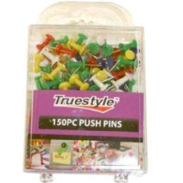 48 Bulk 150pc Push Pins In Plastic Case