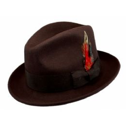 6 Bulk Wool Felt Fedora Hats With Feather In Brown