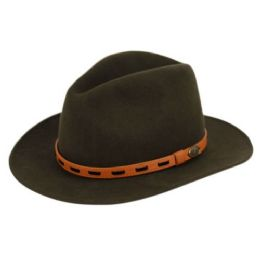 6 Bulk Wool Felt Outback Fedora Hats With Leather Band In Olive