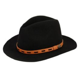 6 Bulk Wool Felt Outback Fedora Hats With Leather Band In Black