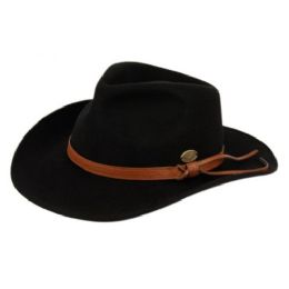6 Bulk Wool Felt Outback Fedora Hats With Faux Leather Band In Black